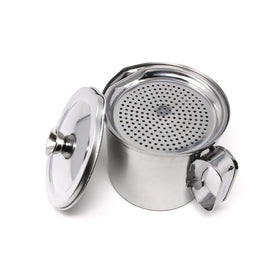 Ichibishi Stainless Steel CooKing Oil Keeper with Double-Filter Strainer 1.2L Oil Storage Containers