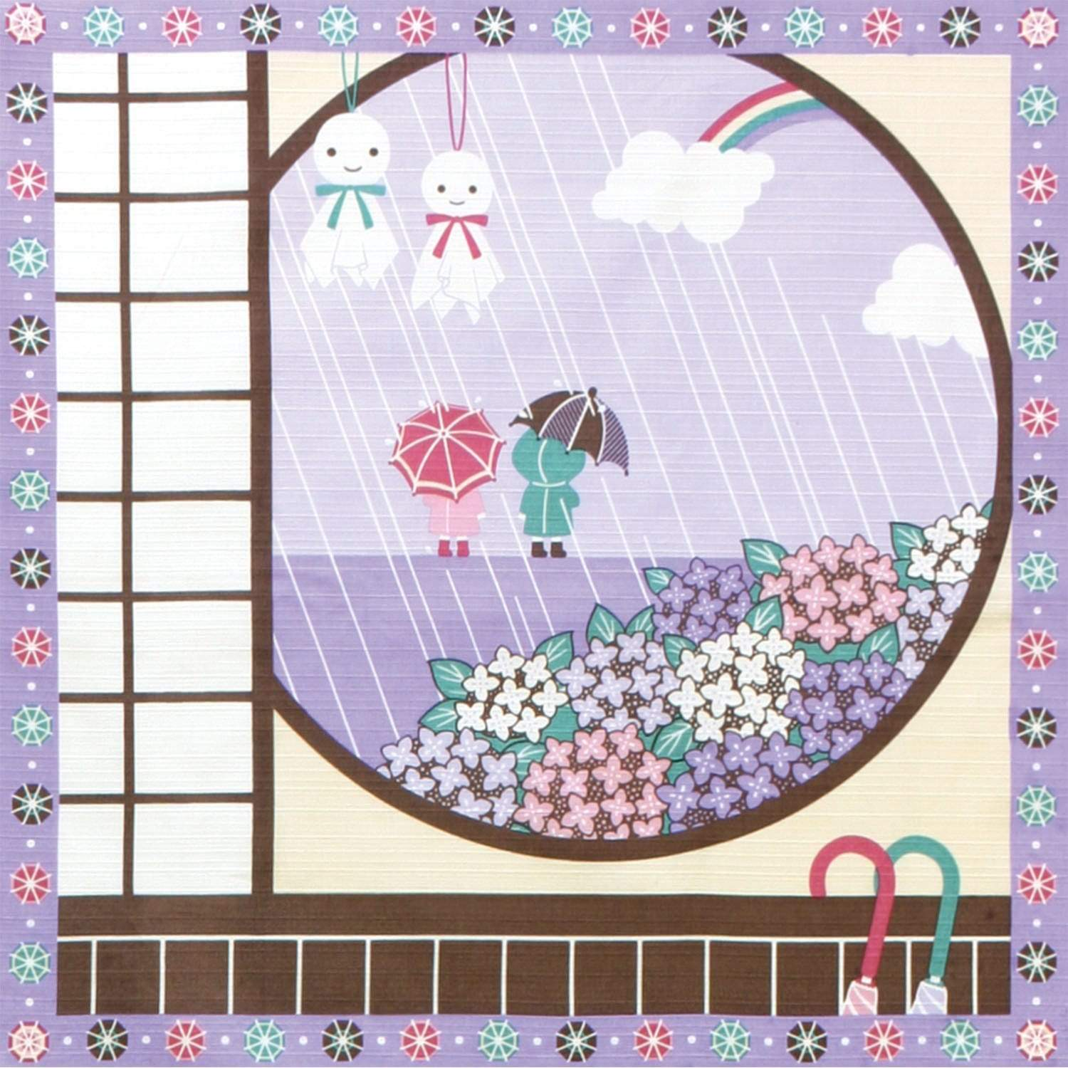 Maeda Senko Cotton Furoshiki Bento Lunch Cloth Rain in Early Summer Furoshikis