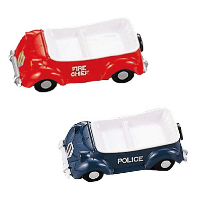 Niimi Melamine 3D Fire Engine & Police Car Hand-Painted Kids Plate Set (2 Piece) Plates