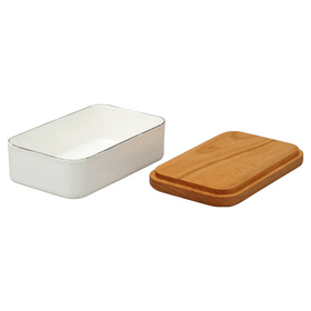 Noda Horo Enamel Butter Dish with Solid Cherry Wood Lid for 200 g Butter Butter Dishes