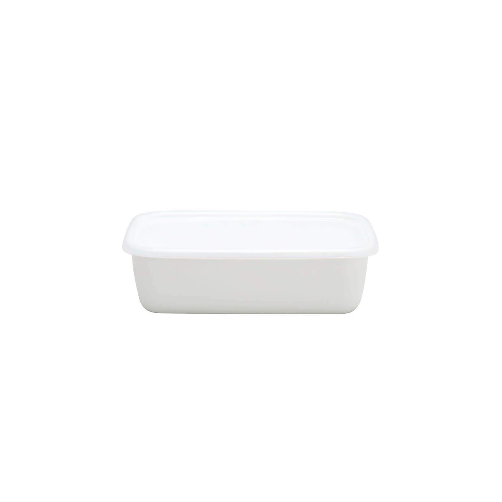 Noda Horo White Series Enamel Rectangle Deep Food Containers with Lid (4 Sizes) Small Food Containers