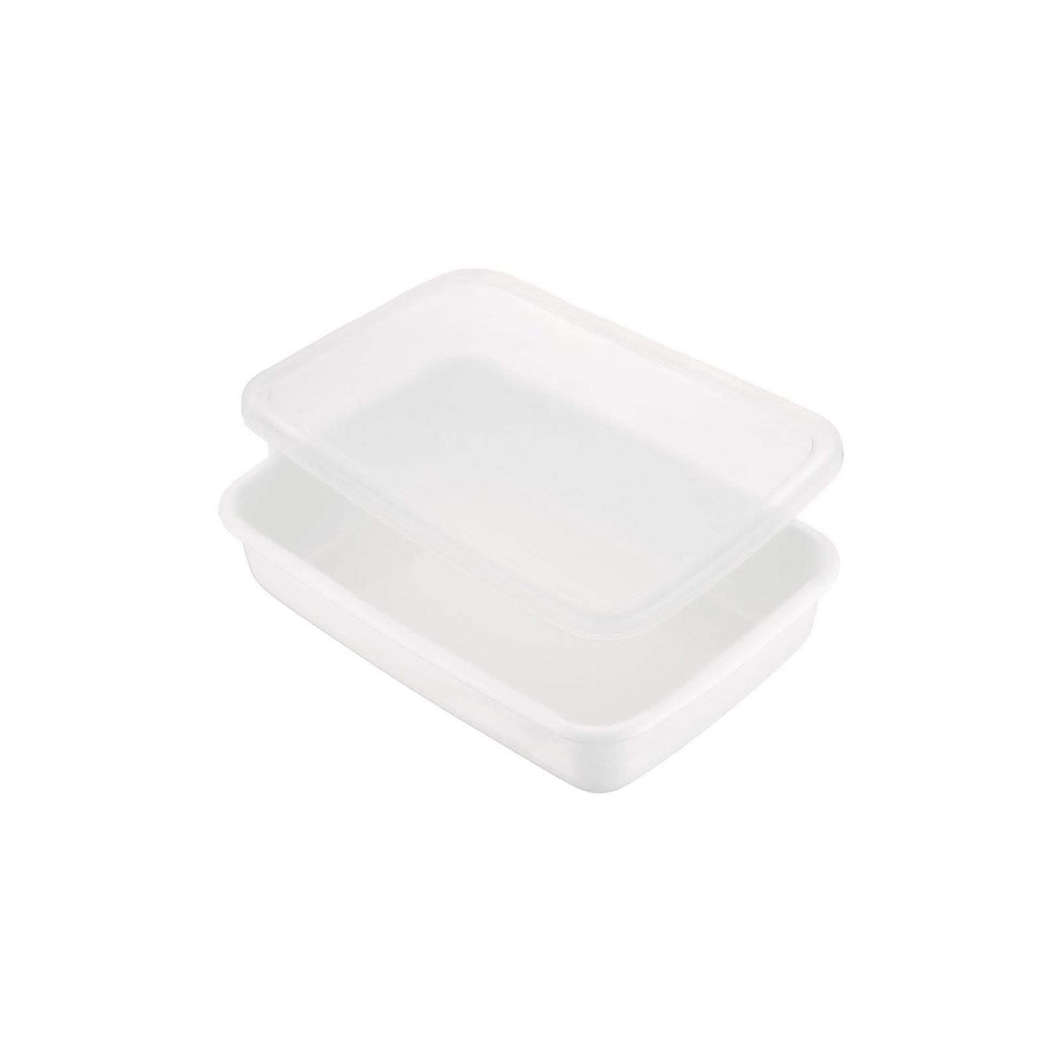 Noda Horo White Series Enamel Rectangle Shallow Food Containers with Lid (3 Sizes) Food Containers