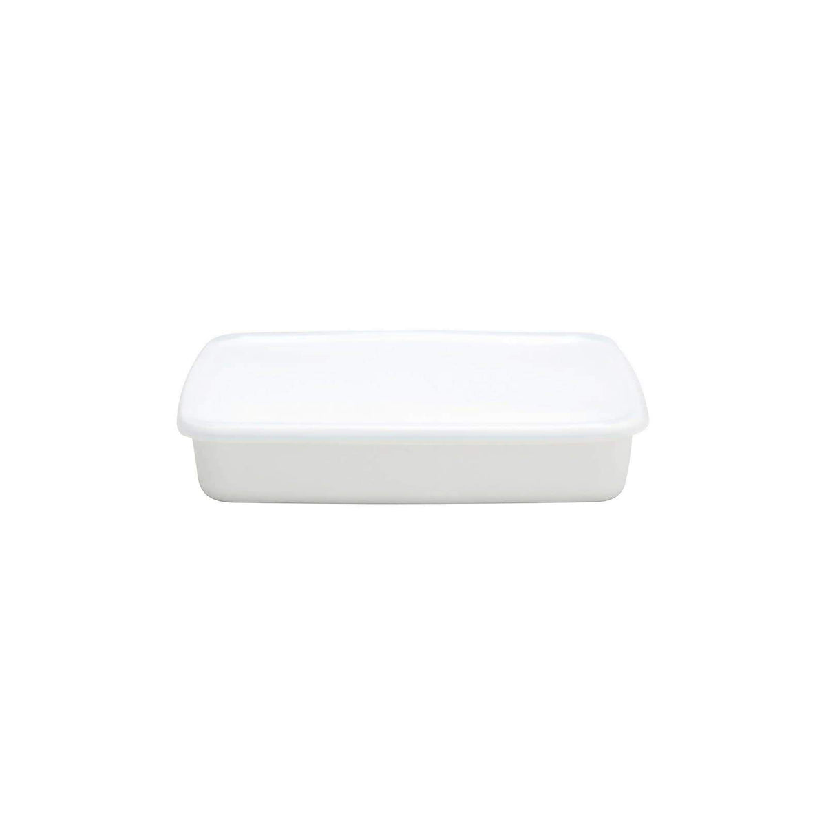 Noda Horo White Series Enamel Rectangle Shallow Food Containers with Lid (3 Sizes) Large Food Containers