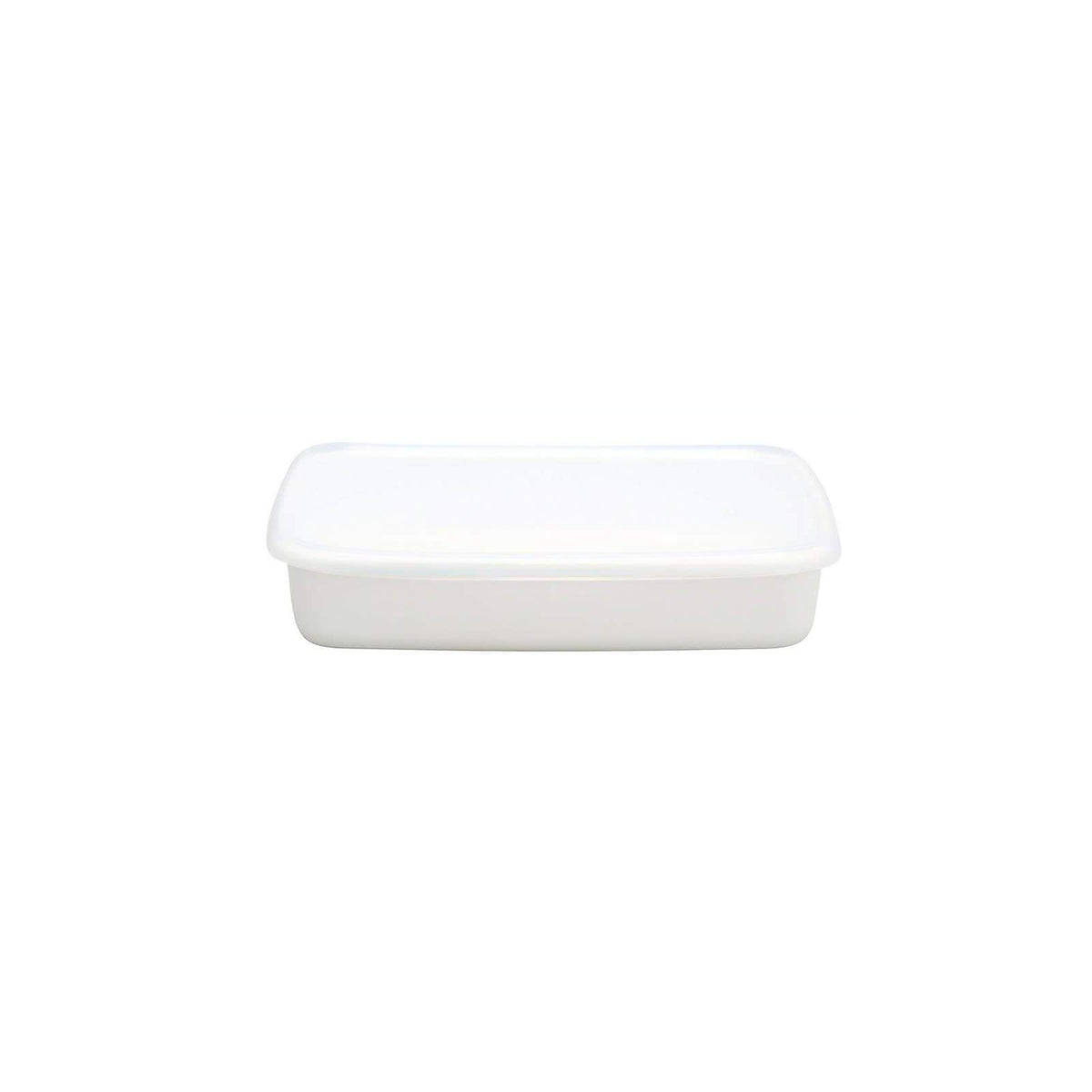 Noda Horo White Series Enamel Rectangle Shallow Food Containers with Lid (3 Sizes) Medium Food Containers