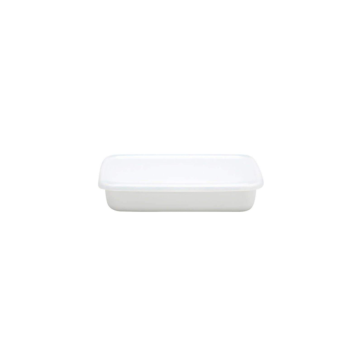 Noda Horo White Series Enamel Rectangle Shallow Food Containers with Lid (3 Sizes) Small Food Containers