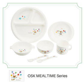 OSK Mealtime Baby Toddler Plastic Unbreakable Divided Plate with Non-Slip Base Plates