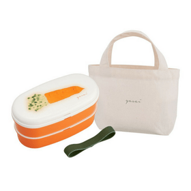 OSK Yasai 2-Tiered Nestable Bento Lunch Box with Chopsticks & Lunch Bag Set (3 Colours) Green Bento Boxes