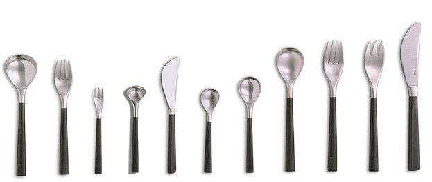 Sori Yanagi Black Handle Dessert Fork with Four Tines 19cm Loose Cutlery