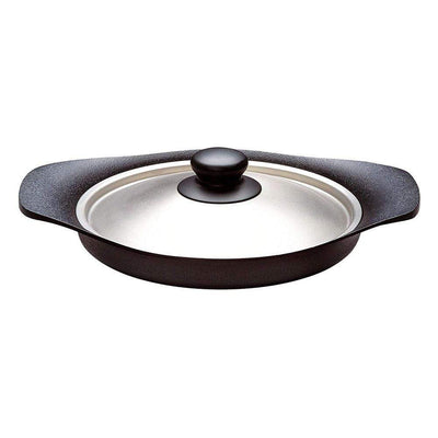 Sori Yanagi Cast Iron Induction Oil Pan Griddle 22cm with Stainless Steel Lid Griddles