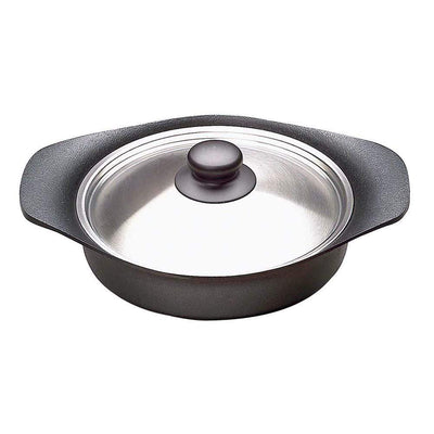 Sori Yanagi Cast Iron Induction Shallow Casserole 22cm with Stainless Steel Lid Casseroles