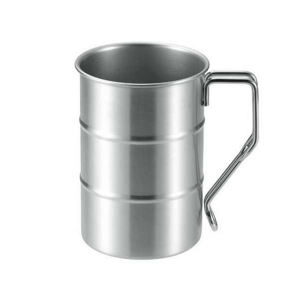 Takeda Stainless Steel Drum Barrel Shaped Travel Mug with Clip Handle 400ml Mugs