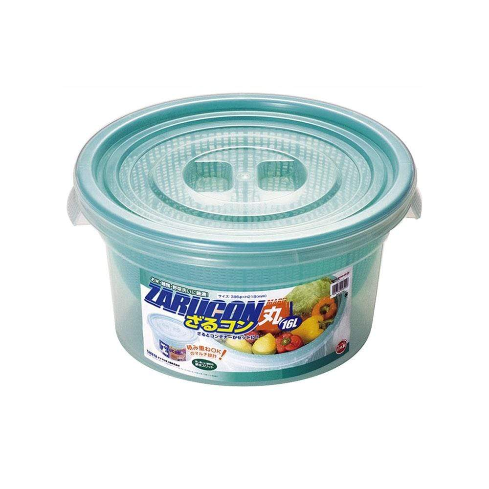 Takeya Zarucon Round Plastic Mesh Bowl with Lid 16L Colanders / Mixing Bowls