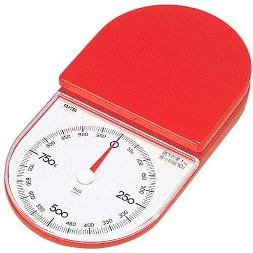 Tanita Non-Electric 1kg Mechanical Slim Kitchen Scale (2 Colours) Red Mechanical Kitchen Scales