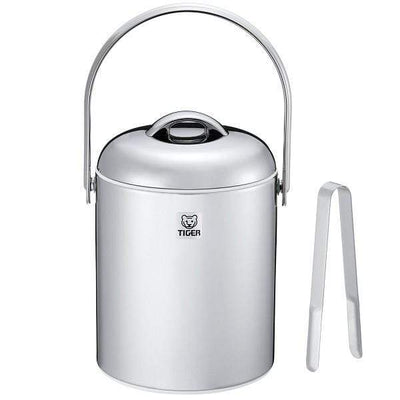 Tiger Stainless Steel Double-Wall Insulated Ice Bucket with Tongs 1.35L Ice Buckets