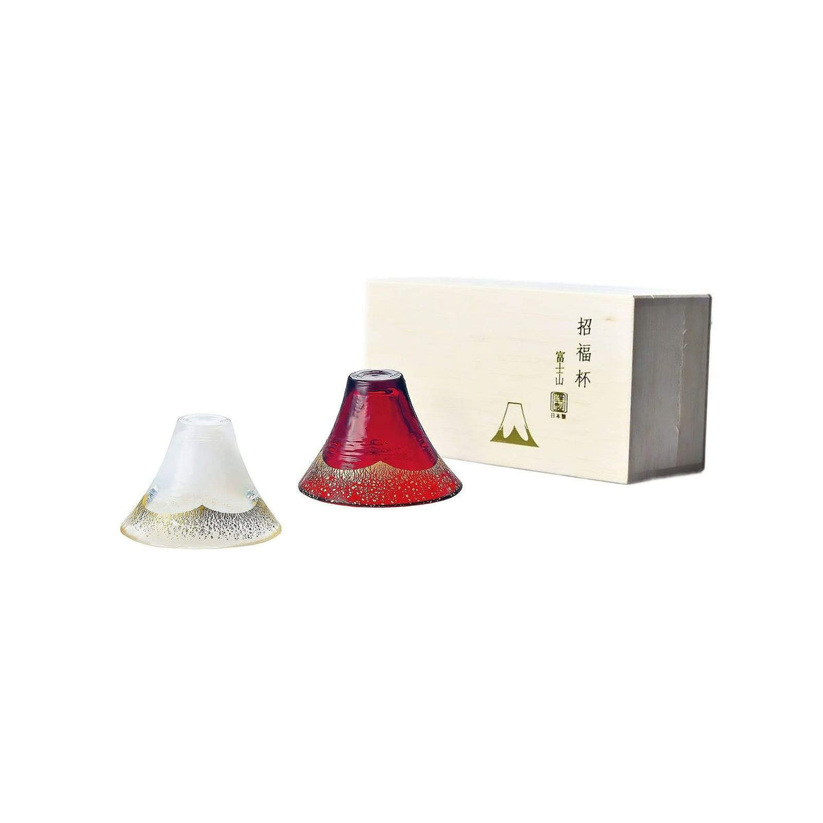 Toyo Sasaki Glass Mt.Fuji Glass Red and White with Gold Sake Cup (Set of 2) Sake Cups