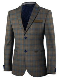 Grey Blue Windowpane Jacket