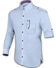 Mini Baby Blue Windowpane Dress Shirt