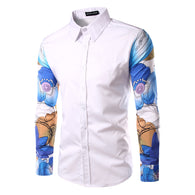 2016 Brand Clothing Floral Print Men Shirts Long Sleeve Shirt Patchwork Korean Slim Design Formal Casual Male Dress Shirt PA16
