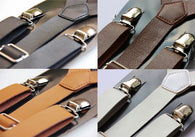 Clip-on Mens Suspenders Ladies Unisex Adjustable Braces Faux Leather Suspenders LK