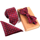 Hot Fashion Polyester Silk Neckties + Handkerchief + Bow Tie Set Skinny Ties Pocket Square Towel Bowtie Wedding for Men Happ