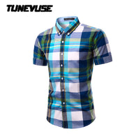 2017 Summer Mens Short Sleeve Plaid mens Shirts Casual Social Dress Shirts Chemise Homme fashion camisa soical masculina TU201