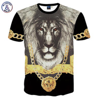 Mr.1991INC men's 3d t-shirt short sleeve printing The Lion King with Gold medal 3d Tshirt for men creative Tops tees MDT28