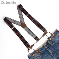 Men's Adjustable 6 Buttons Holes Elastic Suspenders Unisex Plaid Braces 3.5cm Width BD771