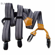 Men's Unisex Casual Black Striped Adjustable Clip-on Suspenders Braces BDXJ2516