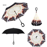 LDAJMW Hot Automatic Double Layer Reverse Umbrella Open/close Narrowest C-Shaped Free Hand Graphic Windproof Long Car Umbrella
