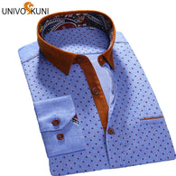 UNIVOS KUNI 2017 Spring Sutumn Men Long Sleeve Shirt Cotton Printed Cotton Business Casual Dress Shirts Patchwork Male Shirt O10