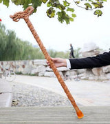 crafts sculpture elderly old man manual carving Wooden crutch walking aid cane birthday gift mahogany wood stick Animal Faucet