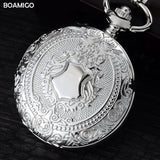 FOB men pocket watches fashion mechanical watch BOAMIGO brand skeleton roman number watches silver chain gift clock reloj hombre