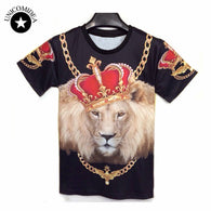 Summer New men's Novelty t-shirts 3d Print Lion King Stylish Hip Hop T Shirt Casual Street Wear For Men Large Size