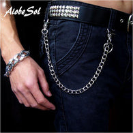 Fashion Punk Hip-hop Trendy Belt Waist Chain Male Pants Chain Hot Men Jeans Silver Metal Clothing Accessories Jewelry