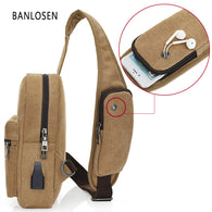 Men Casual Canvas Vintage Shoulder Crossbody Chest Pack Bag Messager bags Multi-function usb charge design