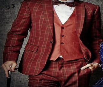 Red Checked Custom Two Piece Suit