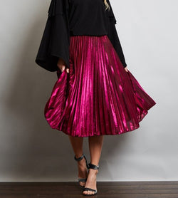 Magenta Metallic Pleated Midi Skirt