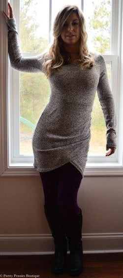 Heather Gray Ruched Tunic-Dress