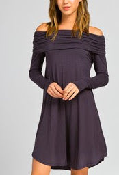 Charcoal Off-the-Shoulder Dress
