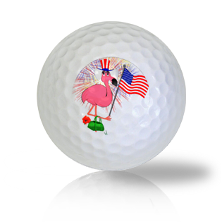 Flamingo Celebrating the  4th of July Golf Balls
