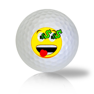 Hard After Money Emoticon Golf Balls