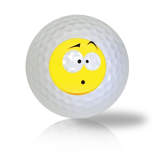 Somewhat Confused Emoticon Golf Balls