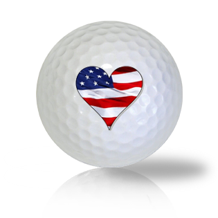 America Flag Heart Golf Balls
