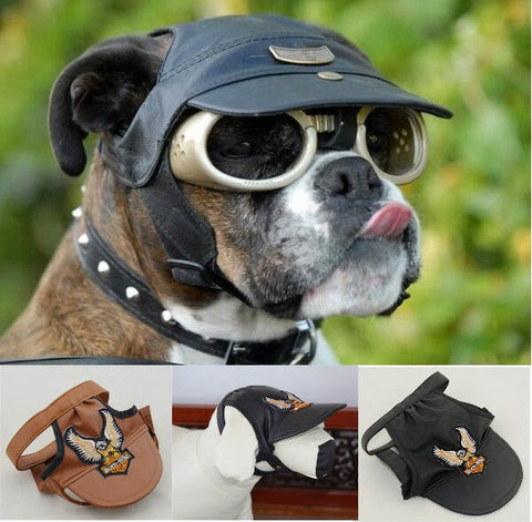 Cool Leather Dog Cap Harley Davidson style
