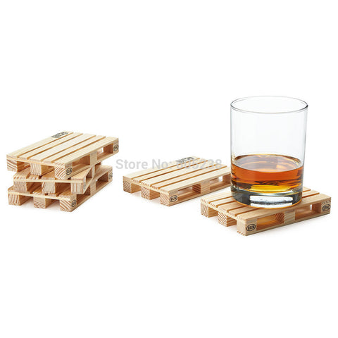 Wooden Pallet Styled Coaster  4 Pieces/Set
