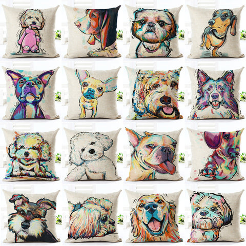 Lovely Dog Pattern Cotton Pillow Cover