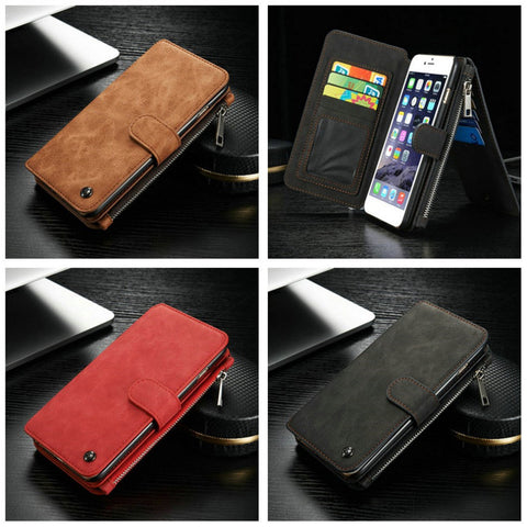 IPhone 6 Genuine Leather Case with Bulit-in 14 Zipper & Card Slots