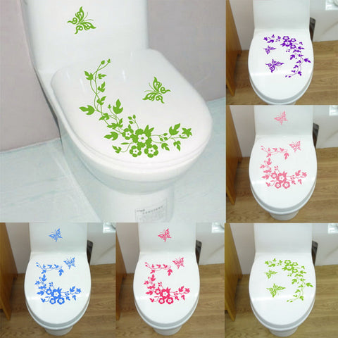 New Butterfly Flower Bathroom Wall Stickers