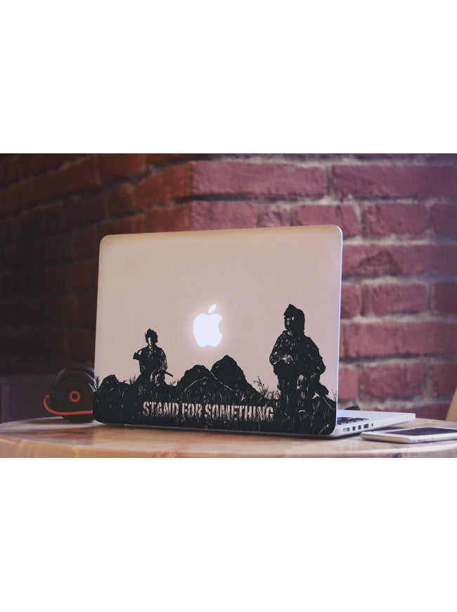 Stand For Something The Troops Mac Book Die Cut Sticker