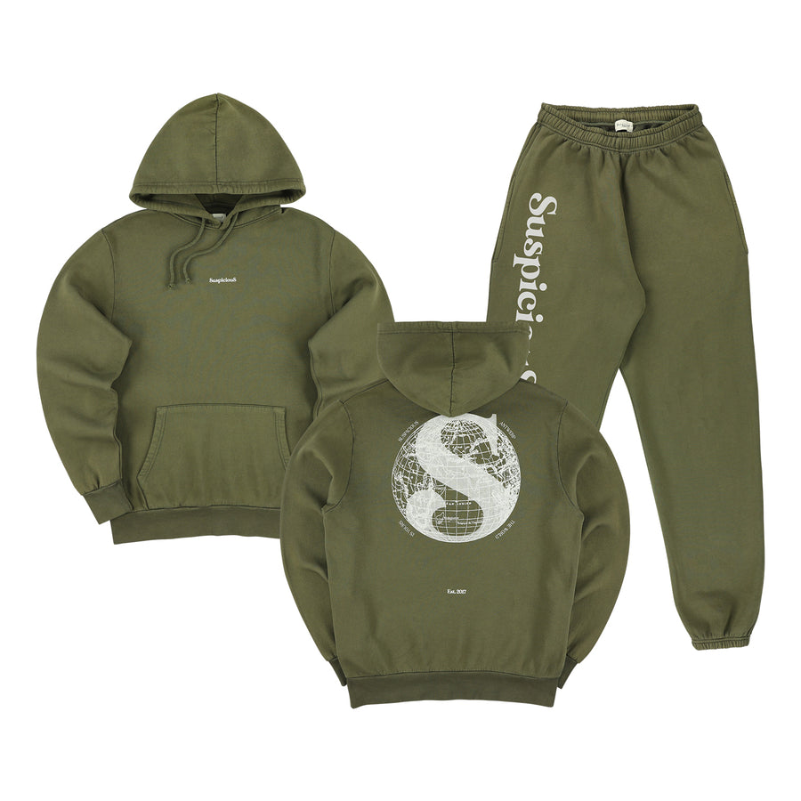 The Voyager Tracksuit - Army Green // White
